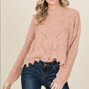 Peach ripped Longsleeve sweater - New with tags!